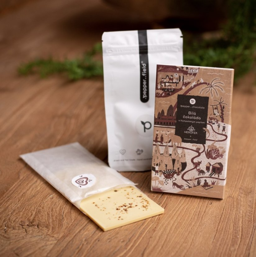 White chocolate with Kampot pepper - .pepper..chocolate (50g) + 20g of Kampot pepper