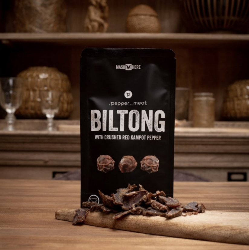 Dried meat BILTONG with crushed red Kampot pepper - 50g