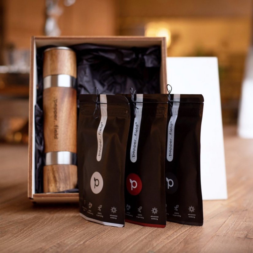 Kampot pepper – DUOMILL set with a grinder in a gift box with 3x50g of pepper