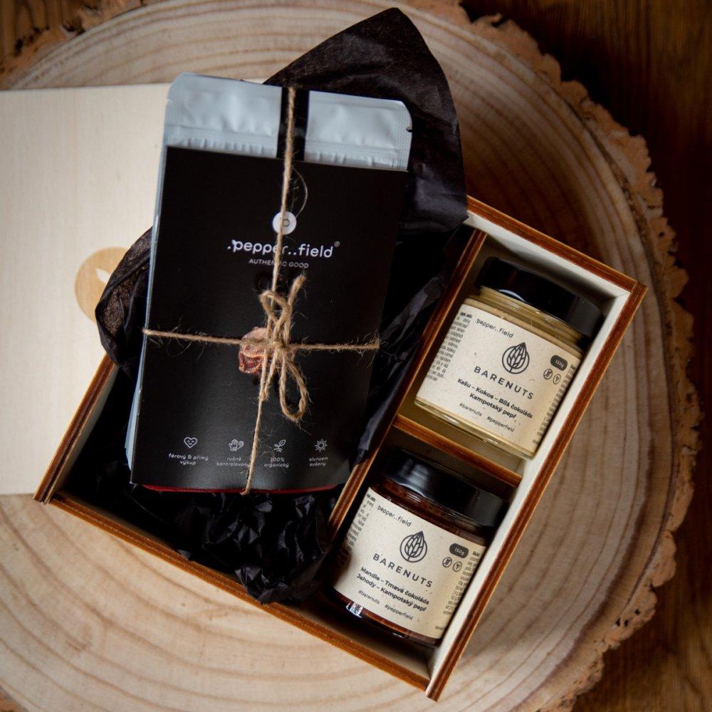 Kampotský pepř - lahodná ořechová másla s Kampotským pepřem (2x150g) + STARTERPACK (3x20g)